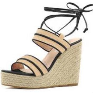 Allegra K Ankle Tie Espadrille Wedge Sandals 9
